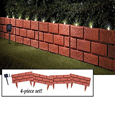 Solar Faux Brick Garden Border Set - 4pc