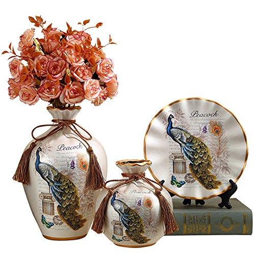 European Fashion Ceramic Peacock's Decorative Plate And Flower Vase Bone China Bud Vase