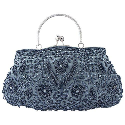 Bagood Women Vintage Beaded Embroidery Sequin Flower Design Kiss-lock Evening Clutch Wedding Party Handbags