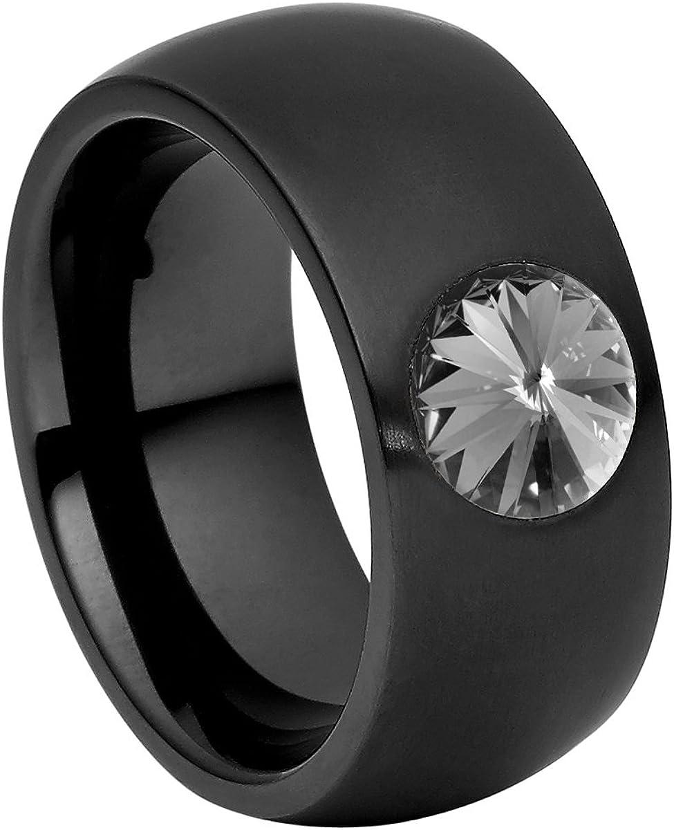 Anillo Heideman Ring Ladies Coma 11 Acero Inoxidable Color Negro Mate para Damas con Swarovski Blanco Perla Gris Perla o cabujón Negro Tallado en Piedra Preciosa 8mm