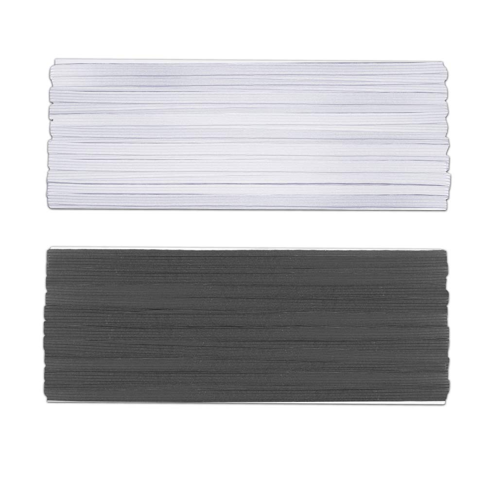Set of 2 findTop Braided Polyester Elastic 11 Yard by 1//4 inch Black /& White Braided Elastic