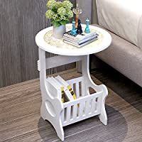 Bedside End Table Nightstand Chair Side Coffee Table - Modern European Style White Round Home Furniture ( Self-assembly )