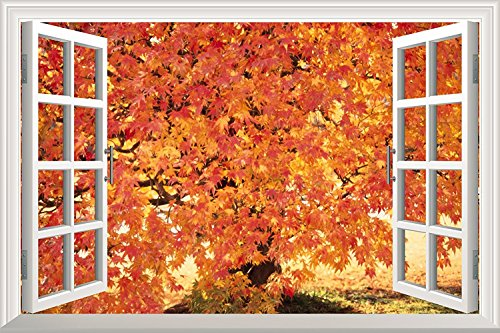 Red Maple Leaf in Autumn Open Window Mural Wall Sticker