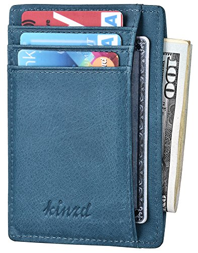 Slim Wallet RFID Front Pocket Wallet Minimalist Secure Thin Credit Card Holder (One Size, Genuine Leather Sky blue) ()