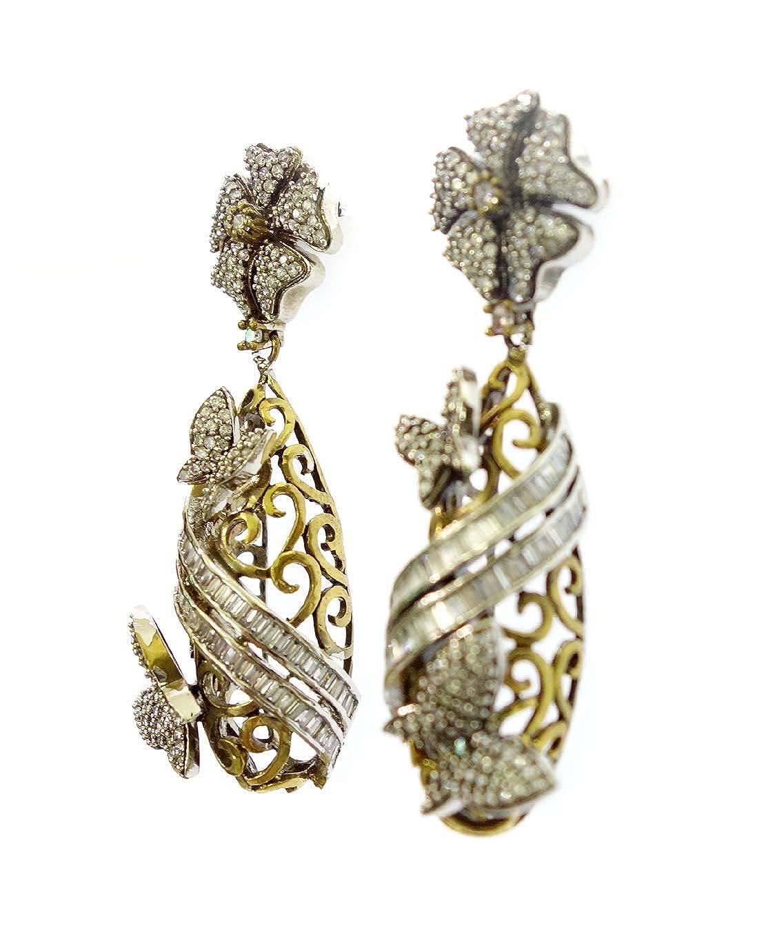 FASHION DROP DANGLE LONG EARRINGS FOR WOMEN AND GIRLS OXIDIZED 22CT GOLD PLATED ETHNIC VICTORIAN EARRINGS CUBIC ZIRCON BUTTERFLY DESIGNER FLOWER EARRINGS TIBETAN SILVER