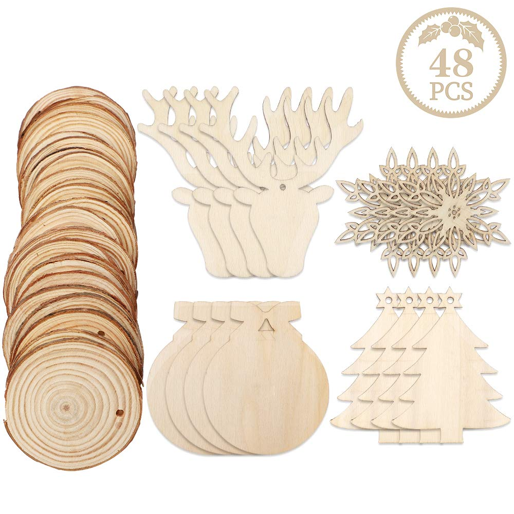 50pcs Unfinished Christmas Wooden Ornaments with Twines,3.15 Round Wooden Discs with Holes,Wooden Christmas Ornaments for Hanging Decorations and DIY Craft