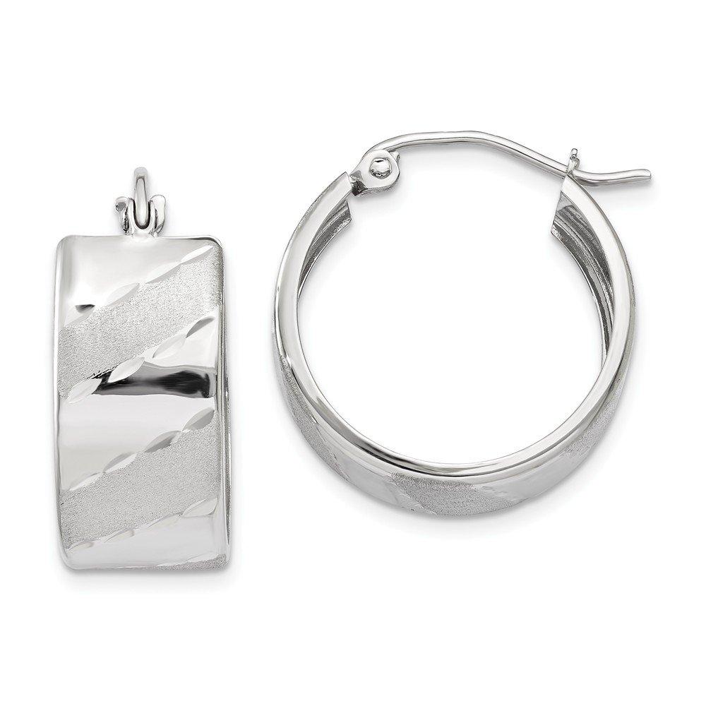 14k White Gold Satin Diamond-Cut Hoop Earrings