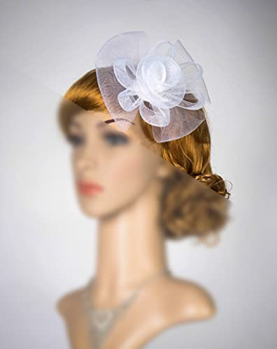 35fc78d4d156e Amazon.com  White Fascinator Veil Headband Bridal Veil Fascinator Simple  Fascinator With Veil Bridal Headpiece Head Piece Derby Hat Fascinator   Handmade