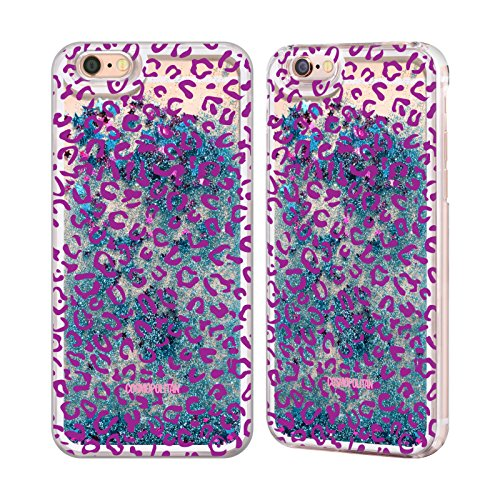 Official Cosmopolitan Violet Leopard Animal Skin Patterns Sky Blue Liquid Glitter Case Cover for Apple iPhone 6 / 6s