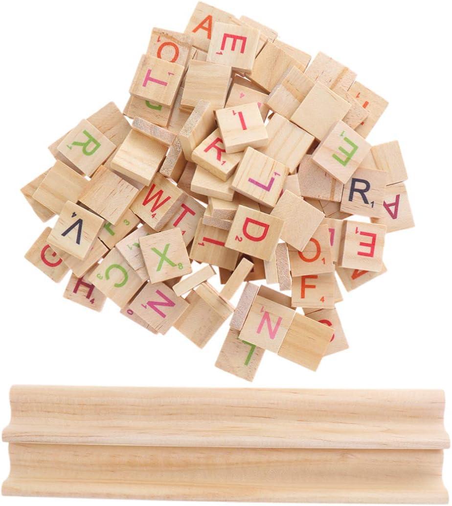 Supvox 102 Piezas de Madera Carta baldosas Scrabble Azulejos A-Z Letras mayúsculas con Base Bord Juguete pedagógico para DIY artesanía Colgante Escritura Alfabeto Posavasos: Amazon.es: Hogar