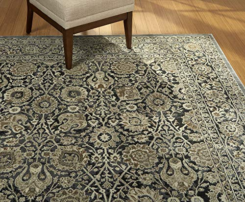 Gertmenian 21499 Oriental Rug VIII Traditional Persian Carpet, 8' x 10' Large, Tabriz Floral Gray