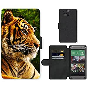 Hot Style Cell Phone Card Slot PU Leather Wallet Case // M99999754 Tiger Animal Pattern // HTC One M8