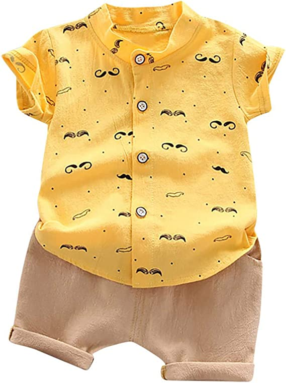 Amlaiworld Camiseta de Manga Corta con Estampado para bebés niños pequeños Blusa de Verano Camisa Casual Tops Pantalones Cortos de Color Liso para niños Conjuntos de Ropa de Caballero: Amazon.es: Ropa y