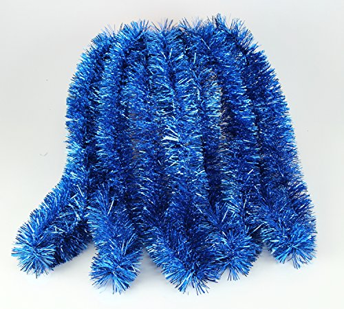 Holiday Tinsel - Elegant Hanging Holiday Tinsel Garland 2.5-inches Thick x 15-feet - Royal Blue