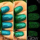 Mermaid Blue to Green Color Changing AND Glow in the Dark Nail Polish - Glows Green - Mood Nail Polish - FREE SHIPPING