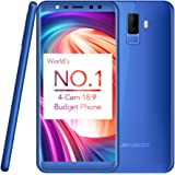 Mobile Phones Unlocked, LEAGOO M9 3G Android 7.0 Mobile Smartphones 5.5 inch 18:9 IPS Display Quad Camera Cell Phone Quad Core 1.3GHz with 2GB RAM+16GB ROM Dual SIM Fingerprint GPS 2850mAh Battery