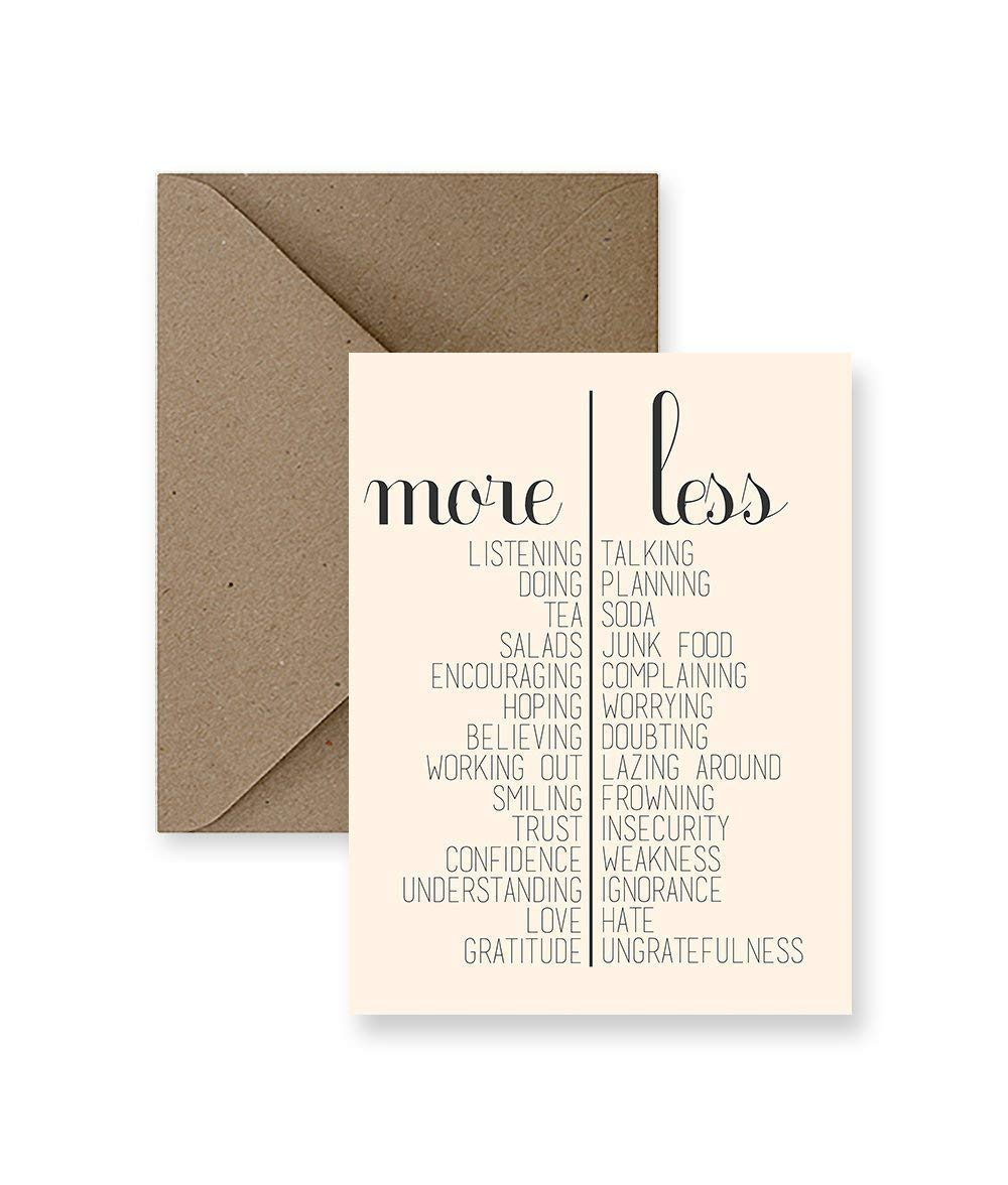 More and Less Greeting Card