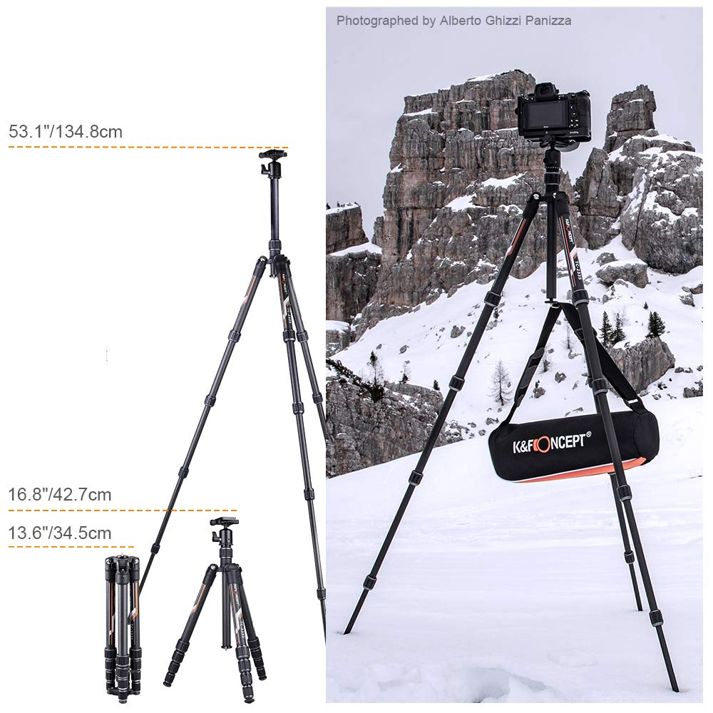 K&F Concept Professional Carbon Fiber Camera Tripod with 360 Degree Ball Head Quick Release Plate for DSLR Camera, Load up to 26.5 pounds/12 kilograms by K&F Concept (Image #7)