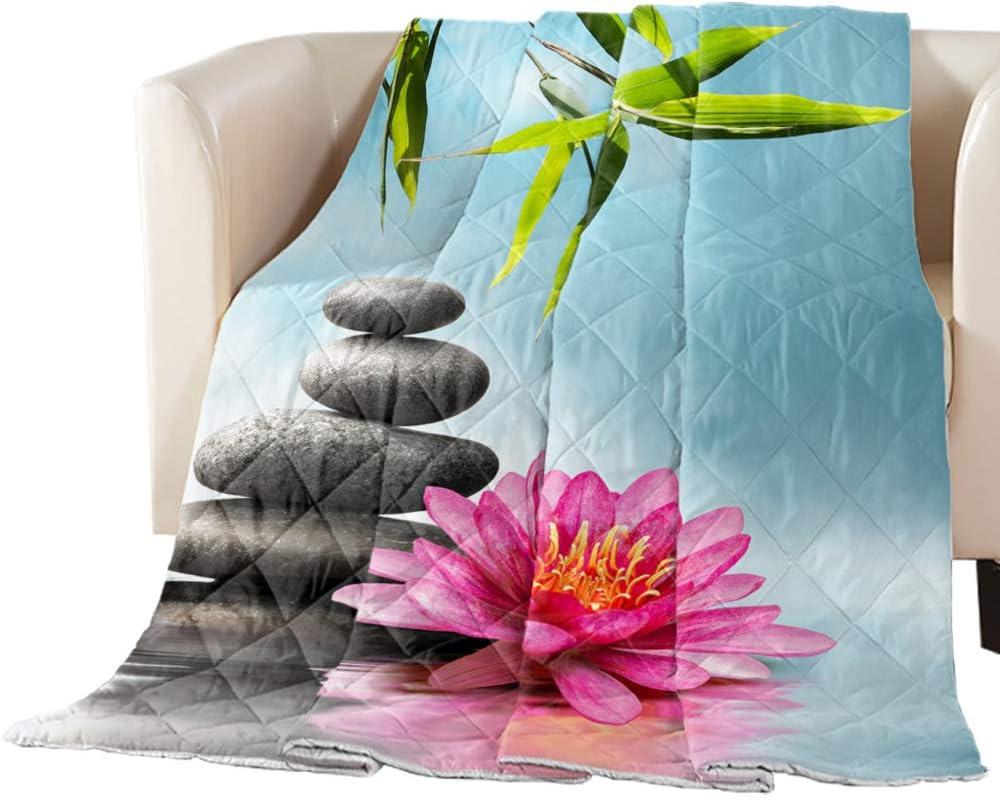 Flower Spa Stones Print Details about  /Zen Garden Quilted Bedspread /& Pillow Shams Set