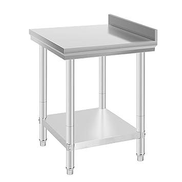 Mophorn Edelstahl Arbeitstisch 60 x 60 cm küchen Arbeitstisch Silber ...