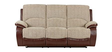 Astounding Newport Recliner Fabric Sofa 3 Seater Cream Amazon Co Uk Bralicious Painted Fabric Chair Ideas Braliciousco