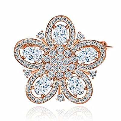 Hot GULICX Elegant Vintage Style Rose Gold Tone Flower Wedding Bridal Pin Brooch With Cubic Zirconia White supplier