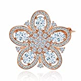 vintage flower pins - GULICX Elegant Vintage Style Rose Gold Tone Flower Wedding Bridal Pin Brooch With Cubic Zirconia White