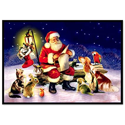 Christmas Day Drawing.Amazon Com Christmas Dogs Santa Claus Decor Diamond