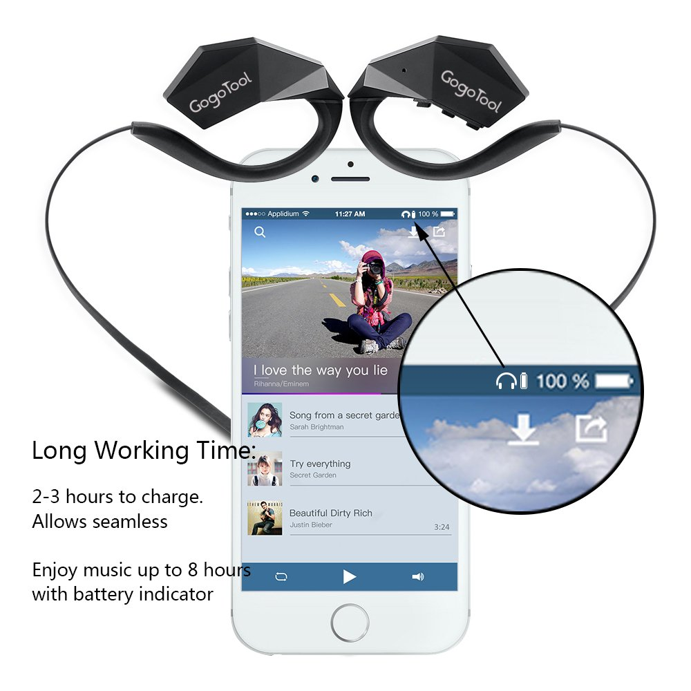 GogoTool - Auriculares con Bluetooth (Resistente al Agua, 8 GB ...