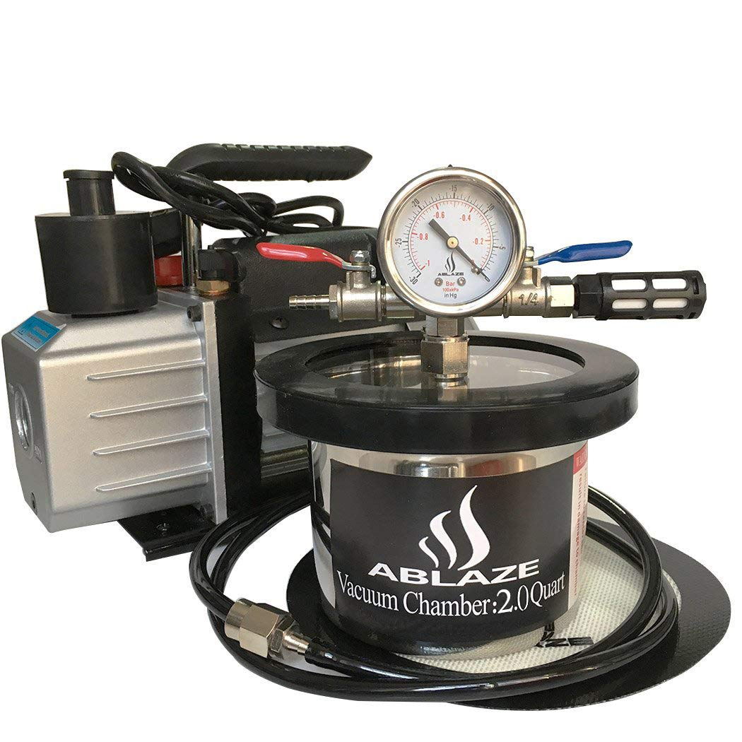 ABLAZE 2 Quart Stainless Steel Vacuum Degassing Chamber and 3 CFM Single Stage Pump Kit by Ablaze