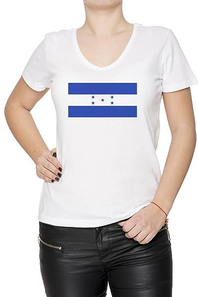 Honduras Nacional Bandera Mujer Camiseta V-Cuello Blanco Manga Corta Todos Los Tamaños Womens T-Shirt V-Neck White All Sizes: Amazon.es: Ropa y accesorios