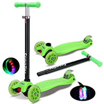 Nclon Niños Patinetes 3 Ruedas Luces leds,Scooter Truco Luminosas Patinete para niños 3-9 años Capacidad de carga 90 kg-verde