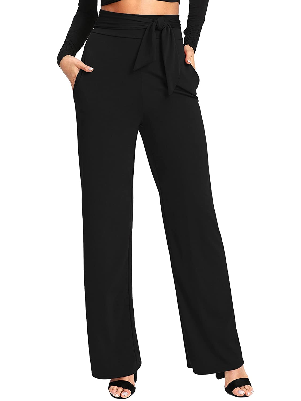Tie Black SheIn Women's Casual Stretchy High Waist Wide Leg Dress Pants