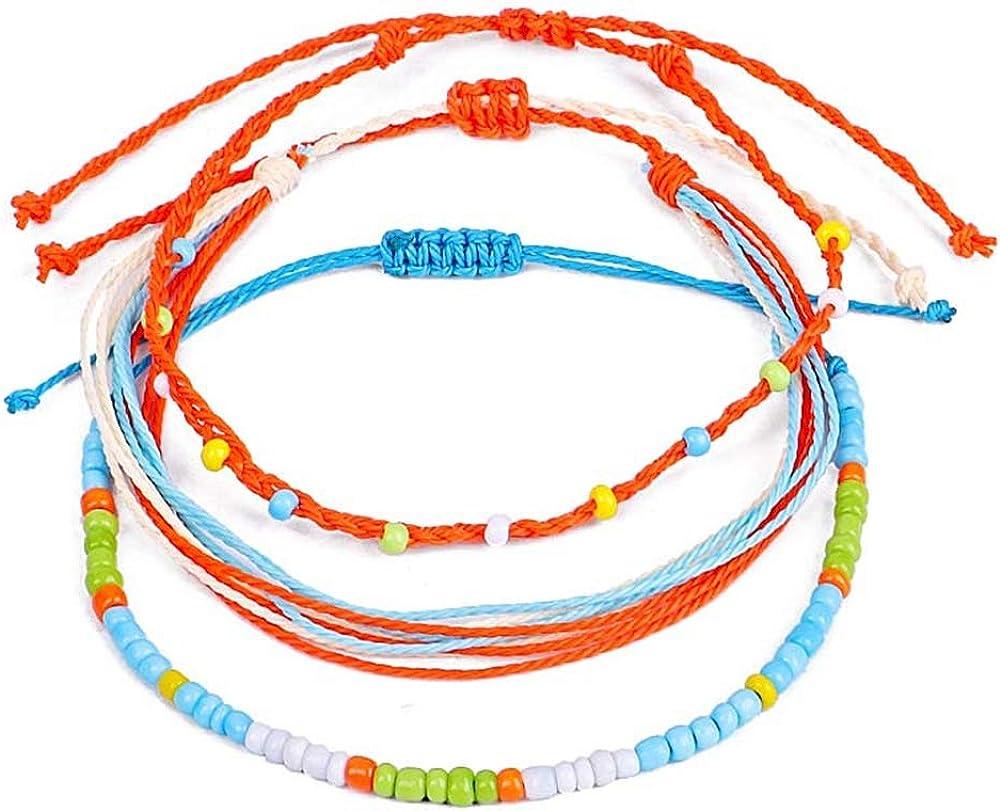kelistom Waterproof Handmade Anklet Set for Women Bohemian Braided String Rope Bead Chain Ankle Bracelet Hawaii Adjustable Beach Foot Jewelry