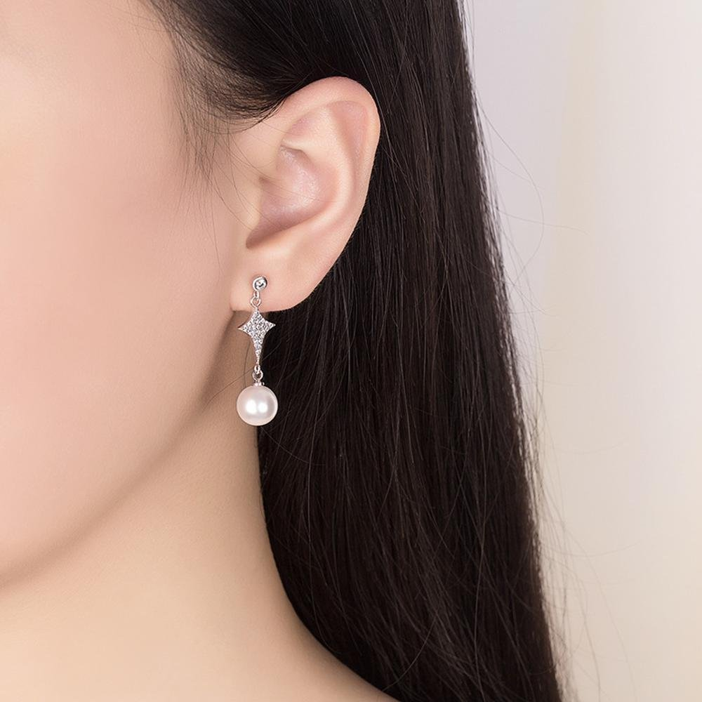 MAFYU Earrings Large S925 Sterling Silver Pearl Earrings 35.51/×9.67/×10Mm Star Diamond Stud Earrings European American Temperament