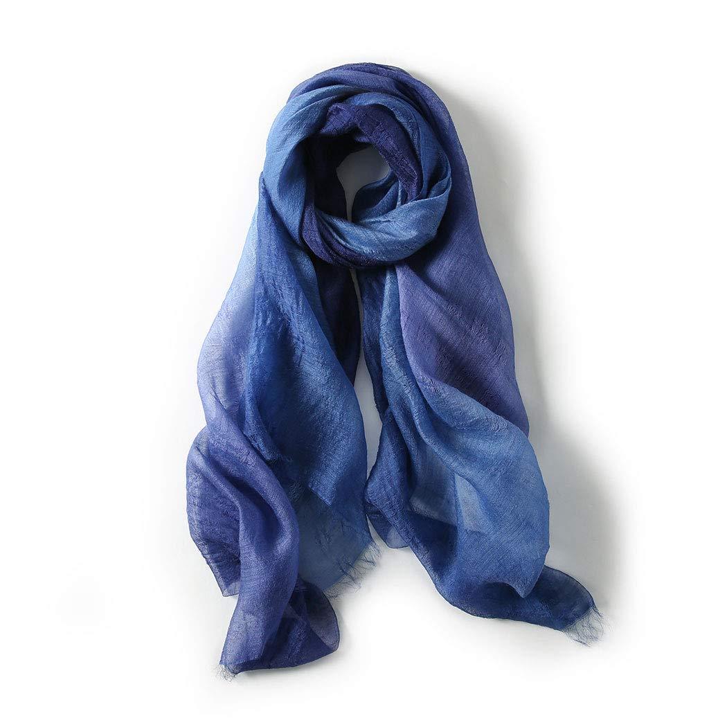 bluee New silk scarf female Korean version of the gradient color silk wool blend scarf 70  195 cm