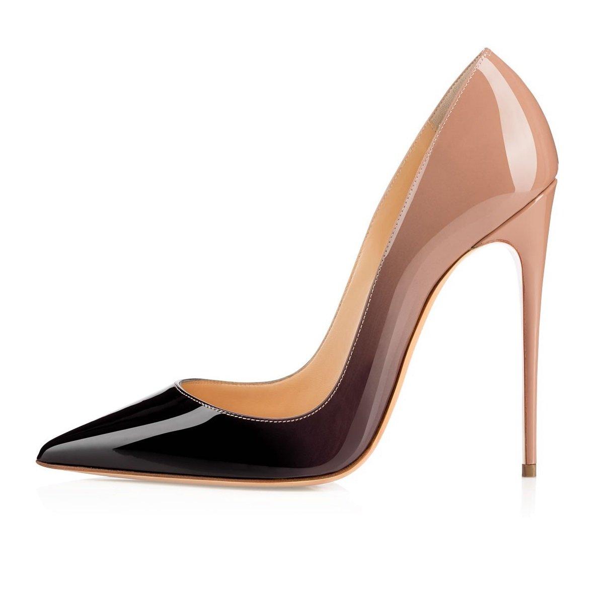 EDEFS Zapatos de Tacón Para Mujer,Zapatos de Tacón Alto 12 cm 42 EU|Nude