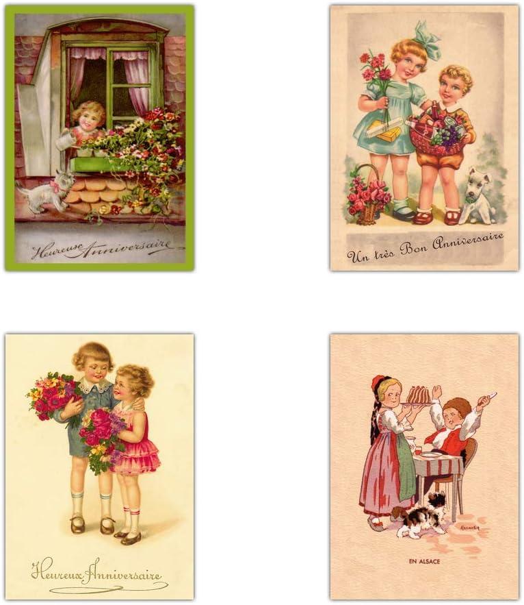 Carte Anniversaire Ancienne Lot De 16 Cartes Differentes Format Carte Postale 3 Formats Dispos Vintage Carte Anniversaire Ancienne Amazon Fr Fournitures De Bureau
