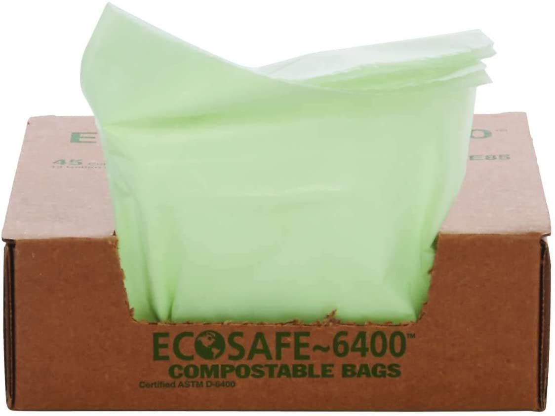 "STOUT by Envision E2430E85 EcoSafe-6400 Compostable Bags, 24"" x 30"", 13 gal Capacity, 0.85 mil Thickness, Green (Pack of 45)"