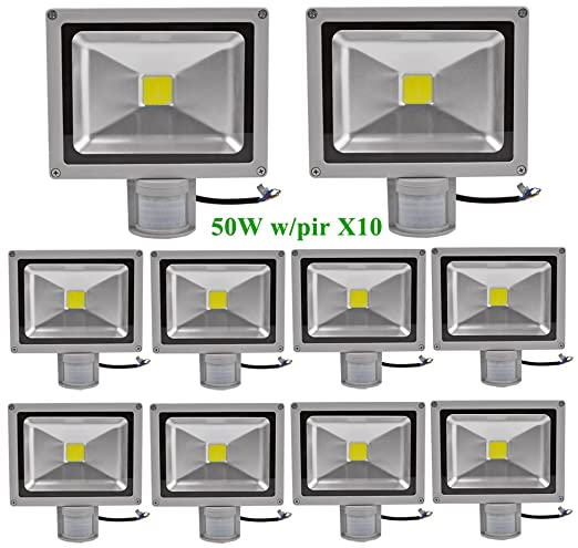 Greenmigo 10pcs Foco Proyector LED 50W Para Exteriores con Sensor ...