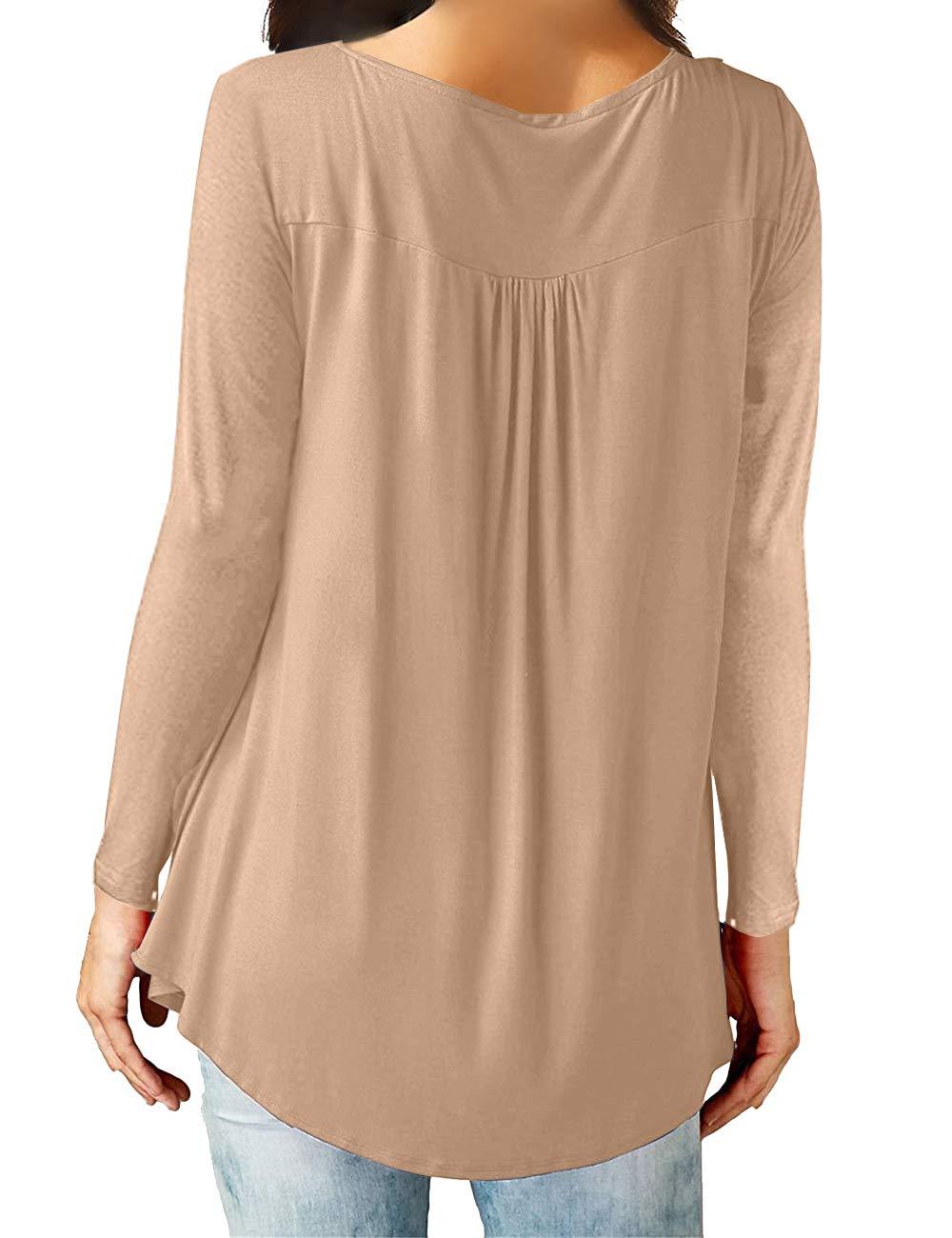 Eanklosco Damen Tops T-Shirts mit V-Ausschnitt Swing Ruffle Blusen Tunika mit Knöpfen Casual Flowy Lange Ärmel (XXL, Leichter Kaffee)