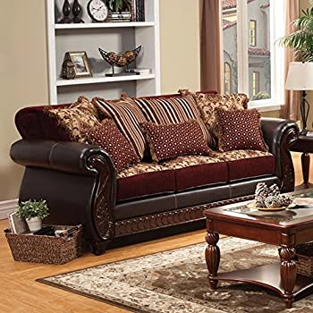 Amazon Com Loveseat Sofa Burgundy Amp Gold Floral Chenille