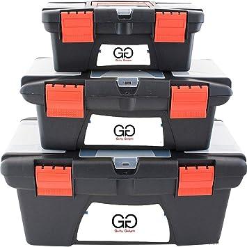 Caja de herramientas de plástico con asa y compartimentos, con bandeja extraíble en el interior, 3 unidades: Amazon.es: Bricolaje y herramientas