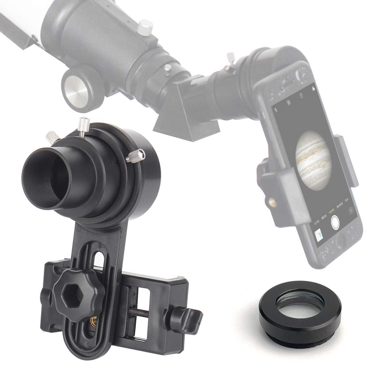 SOLOMARK Adaptador de telescopio para smartphone de 1,25 pulgadas ...