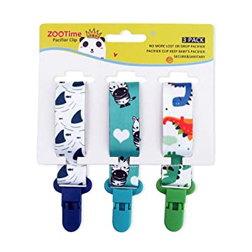Dummy Clips Baby Pacifier Clips 4 Pack Pacifier Holder Straps for Boys and Girls Plastic Teething Clips Modern Unisex Design