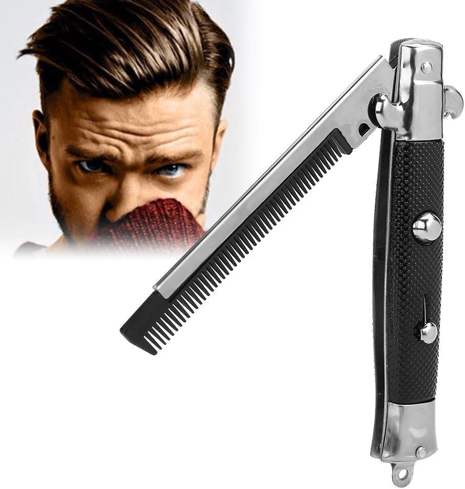 Peine de bolsillo plegable con botón de empuje automático, de acero inoxidable, para barba y bigote, accesorios para cabello para hombre