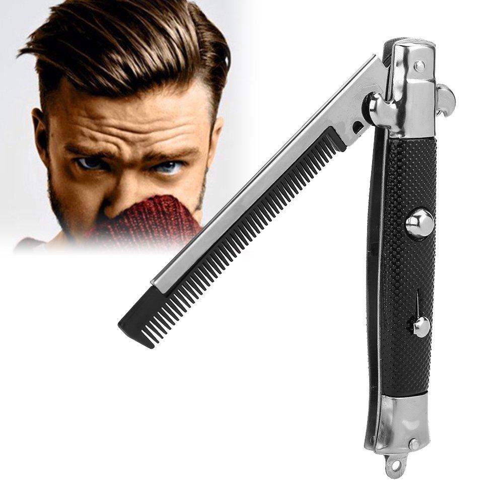 Peigne De Poche Pliable Bouton-Poussoir Automatique En Acier Inoxydable Cheveux Tondeuse Peignes pour Barbe Moustache, Hommes Huile Cheveux Styling Accessoires Filfeel