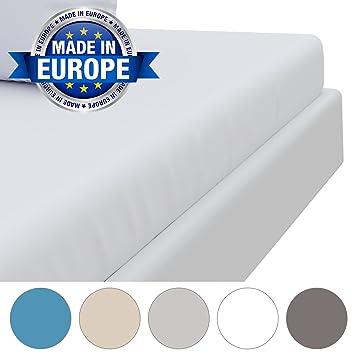⭐Drap Housse Microfibre (100% Polyester), 140 x 190/200 cm, Blanc