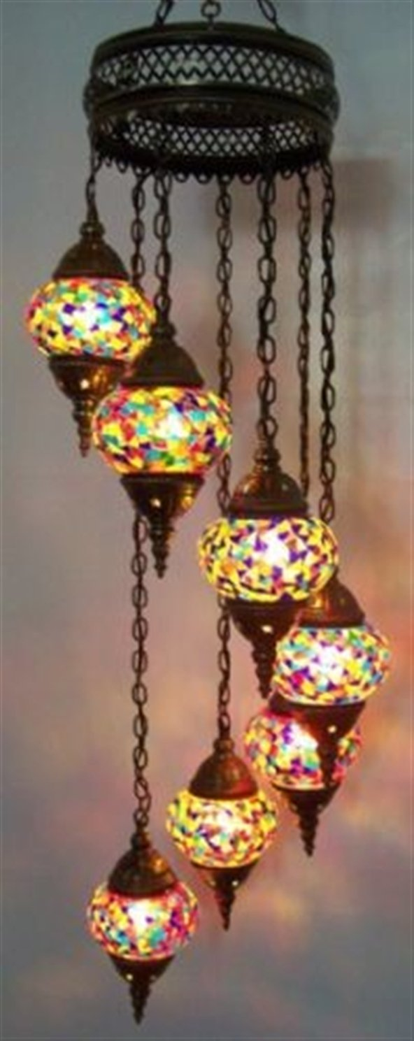 Mosaic Chandelier Set 7 Globe, Handmade Authentic Tiffany Lighting Moroccan Lamp Glass Stunning Bedside Night Lights Brass&Glass Ottoman Turkish Style