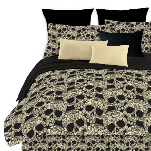 Veratex Soft Luxury Youth 100% Polyester Shell Fully Reversible 3 Piece  Modern Flower Skull Comforter Set, Queen Size, Multicolor
